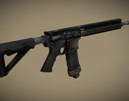 PBR AR 15 Assault Rifle Game Ready 3D asset
