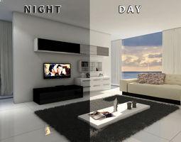 3D Living room 19 night CGTrader
