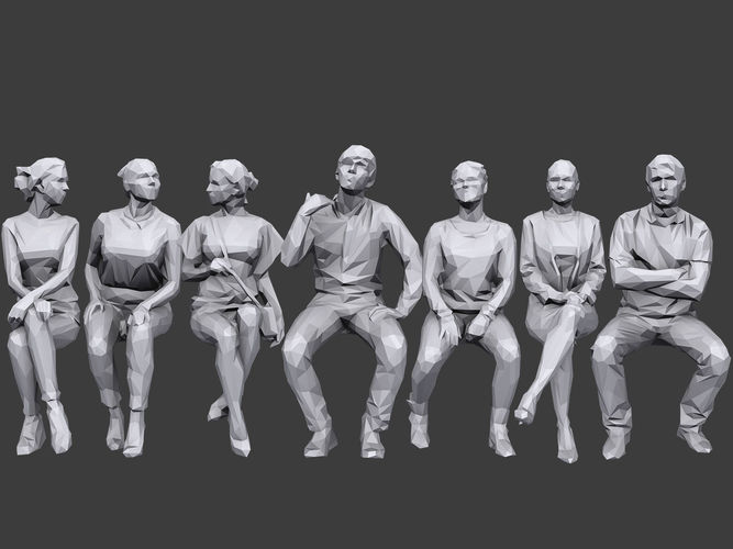 lowpoly people sitting pack volume 5 3d model low-poly max obj mtl fbx 1