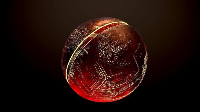 fire planet 3d model low-poly fbx 1