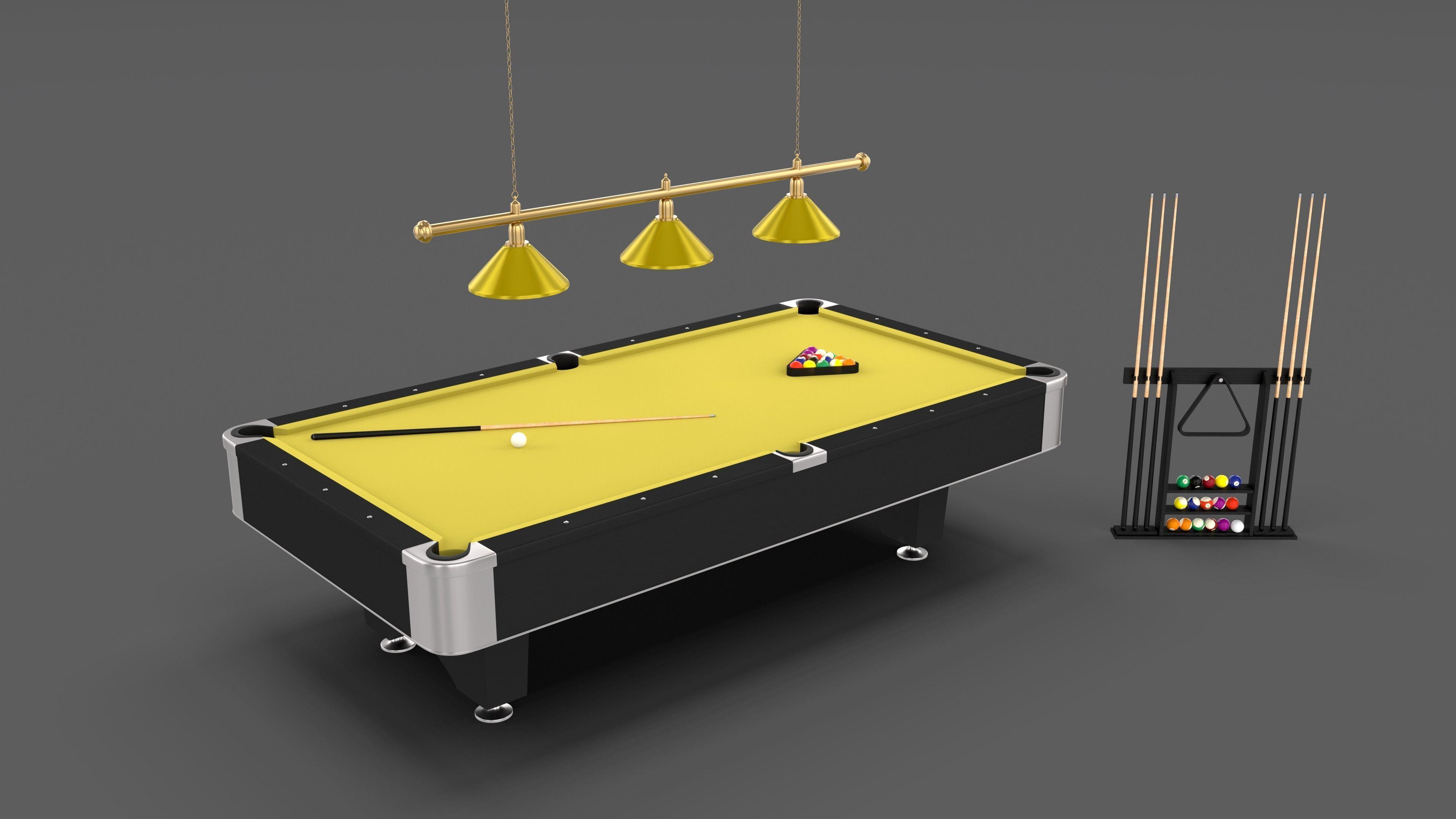 Pool Table Setup >> 8 Ball Pool Table Setting Yellow 3d Model