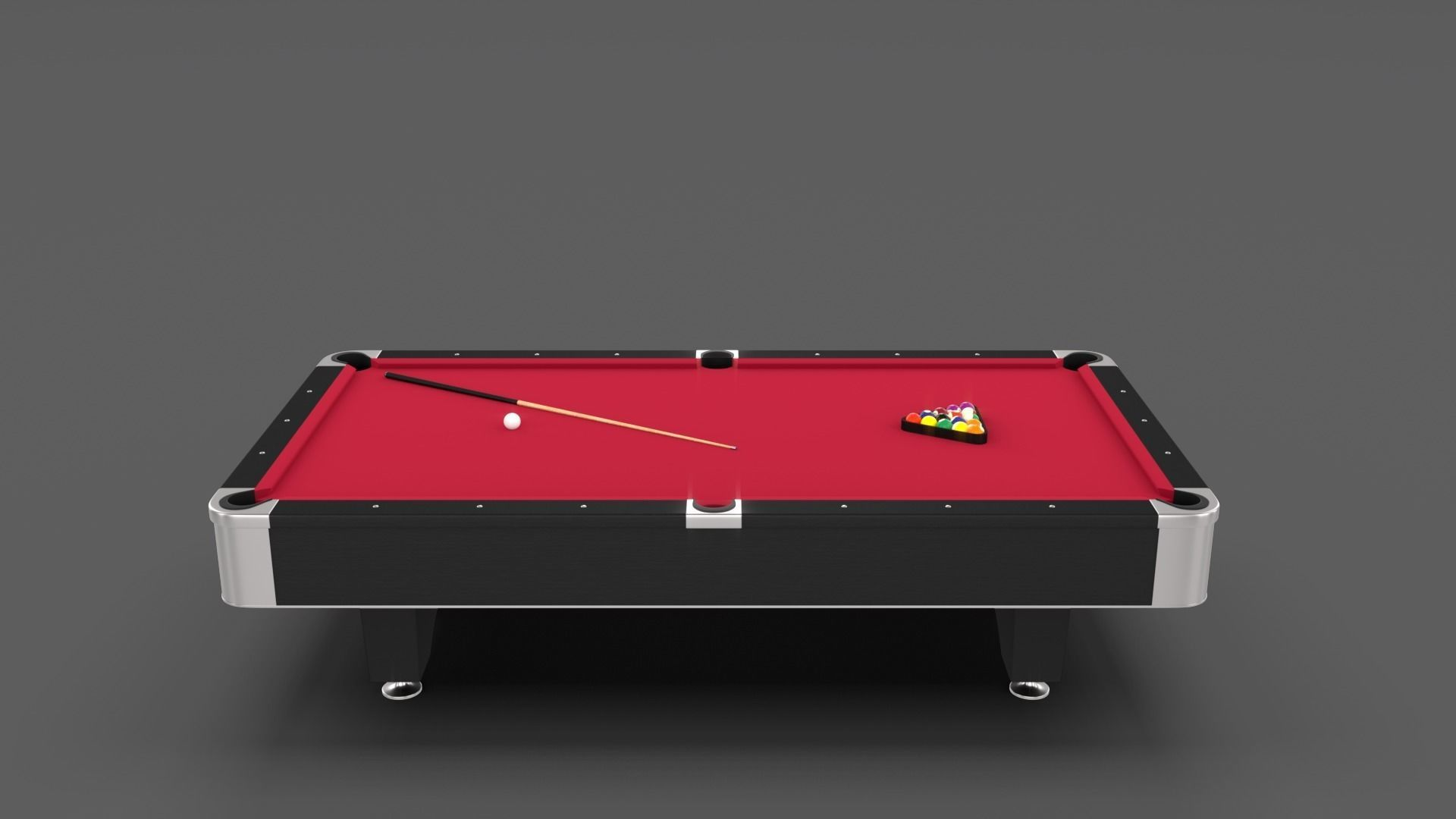 Beau 8 Ball Pool Table Red 3D Model