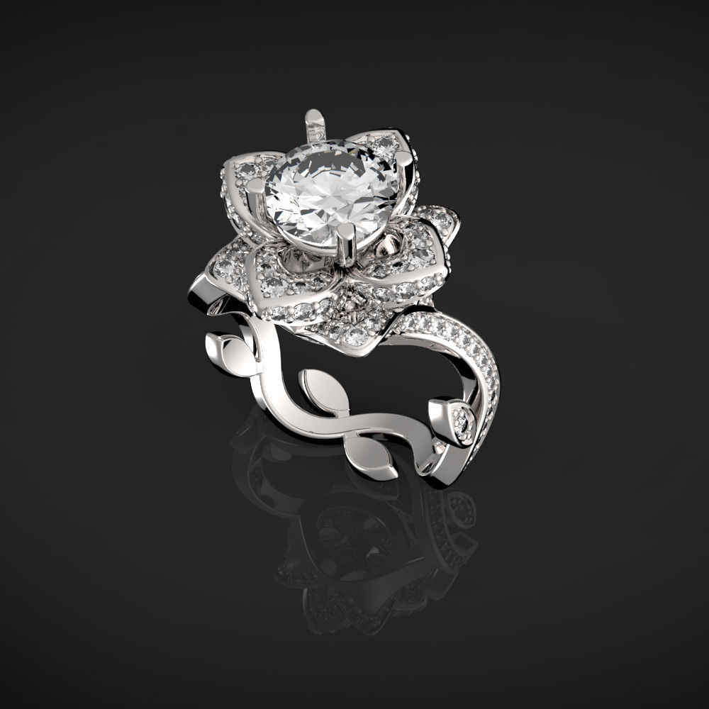 Flower Lotus Rose Leaves Ring 3d Model 3d Printable Stl