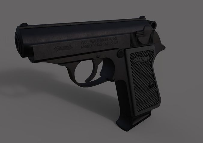 walther ppk handgun 3d model obj mtl 3ds fbx c4d dae 1
