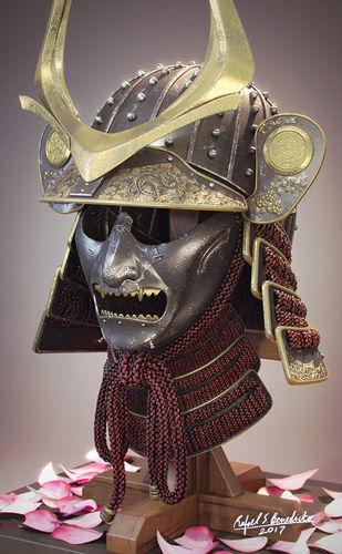 samurai helmet 3d model max obj 1