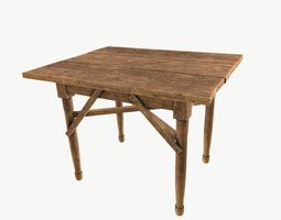 3D asset low-poly Wooden table
