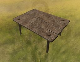 3D asset low-poly norse Wooden table