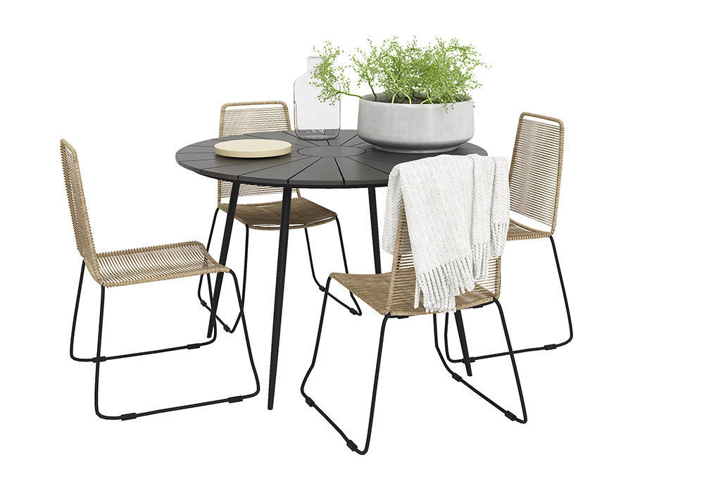 Prato Outdoor table with four Joy chairs