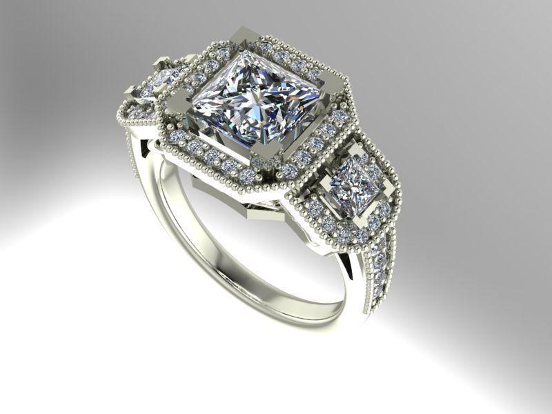 Halo 3 stone engagement ring princess | 3D Print Model