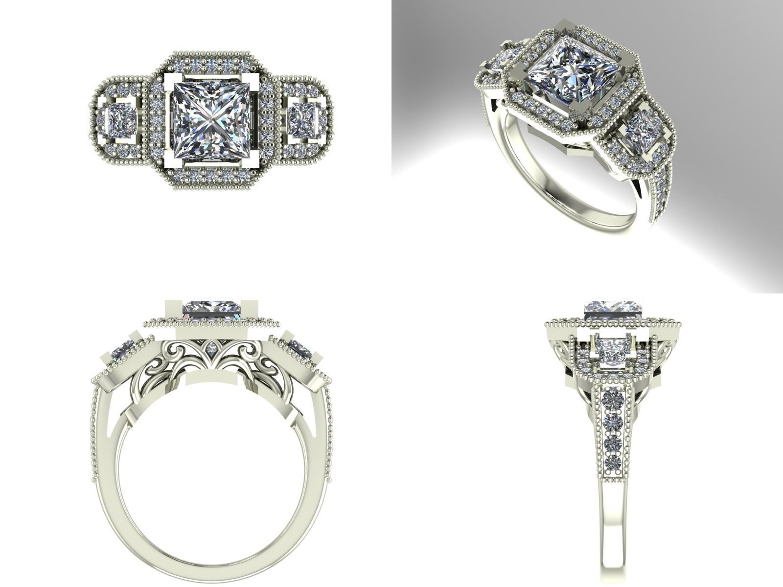 three engagement durham stunning diamond feature ring portfolio jewellery stone rose