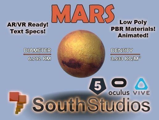 animated mars ar vr unity 3dsmax 3d model low-poly rigged animated max unitypackage prefab 1