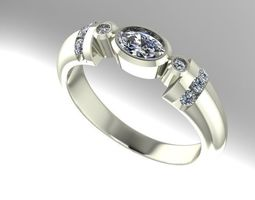 bezel set oval engagement ring 3D printable model
