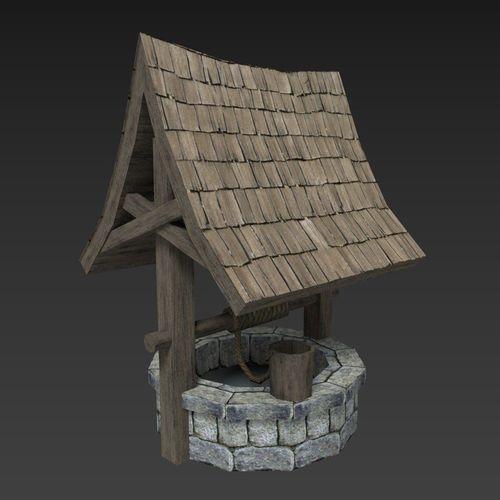 medieval well 3d model low-poly obj mtl 3ds fbx blend unitypackage prefab 1