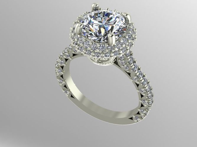 Double halo engagement ring | 3D Print Model