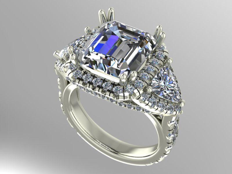 Large 3 stone halo ring | 3D Print Model