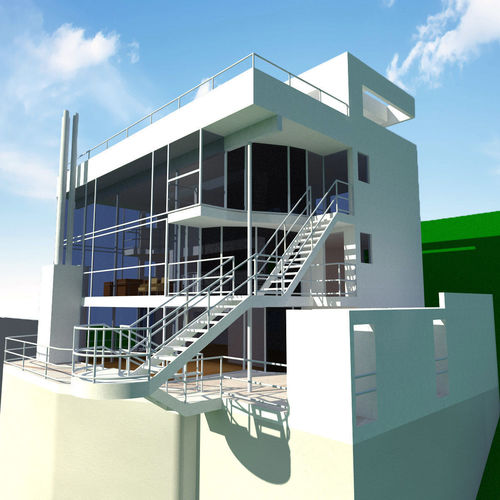 Douglas House By Richard Meier 3D