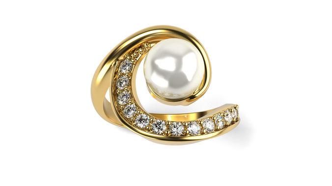 swirl pearl ring 3d model stl 1