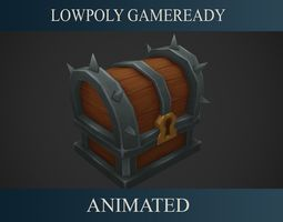 3D asset animated low-poly Treasure Chest