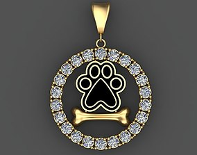DOG PAW and BONE 3D Pendant with Diamonds 3D Printable