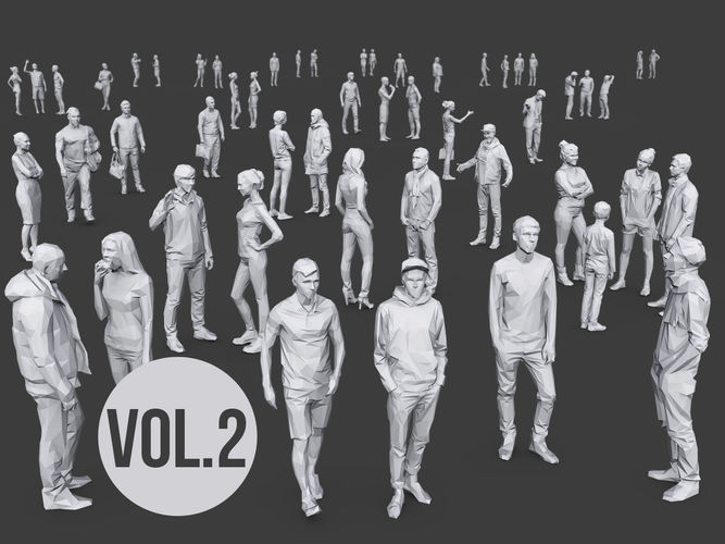 complete lowpoly people pack volume 2 3d model low-poly max obj mtl fbx 1