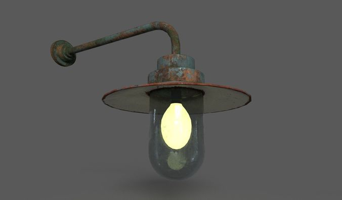 Old Rusted Outdoor Wall Lamp