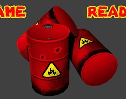 Game Ready Flammable Explosive Oil Drum Barrel 3D asset 1