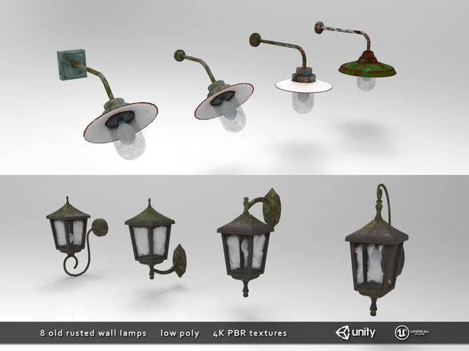 Old Rusted Outdoor Wall Lamps Pack