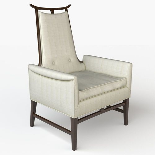 Rare James Mont Style Asian Inspired Walnut Lounge Chairs