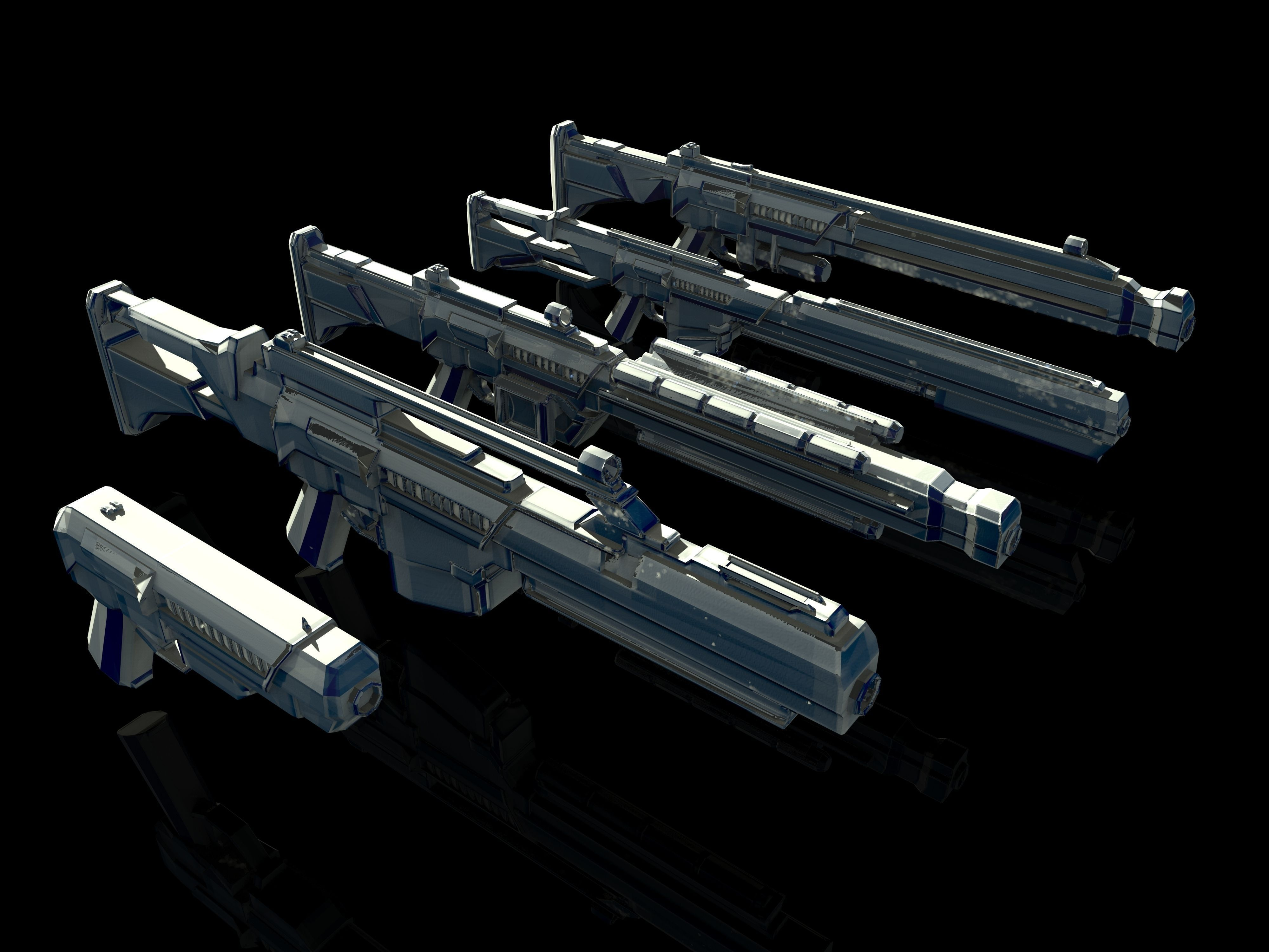 3d Model Sci Fi Gun Pack Vr Ar Low Poly Obj