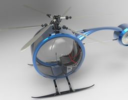Light helicopter 3D asset