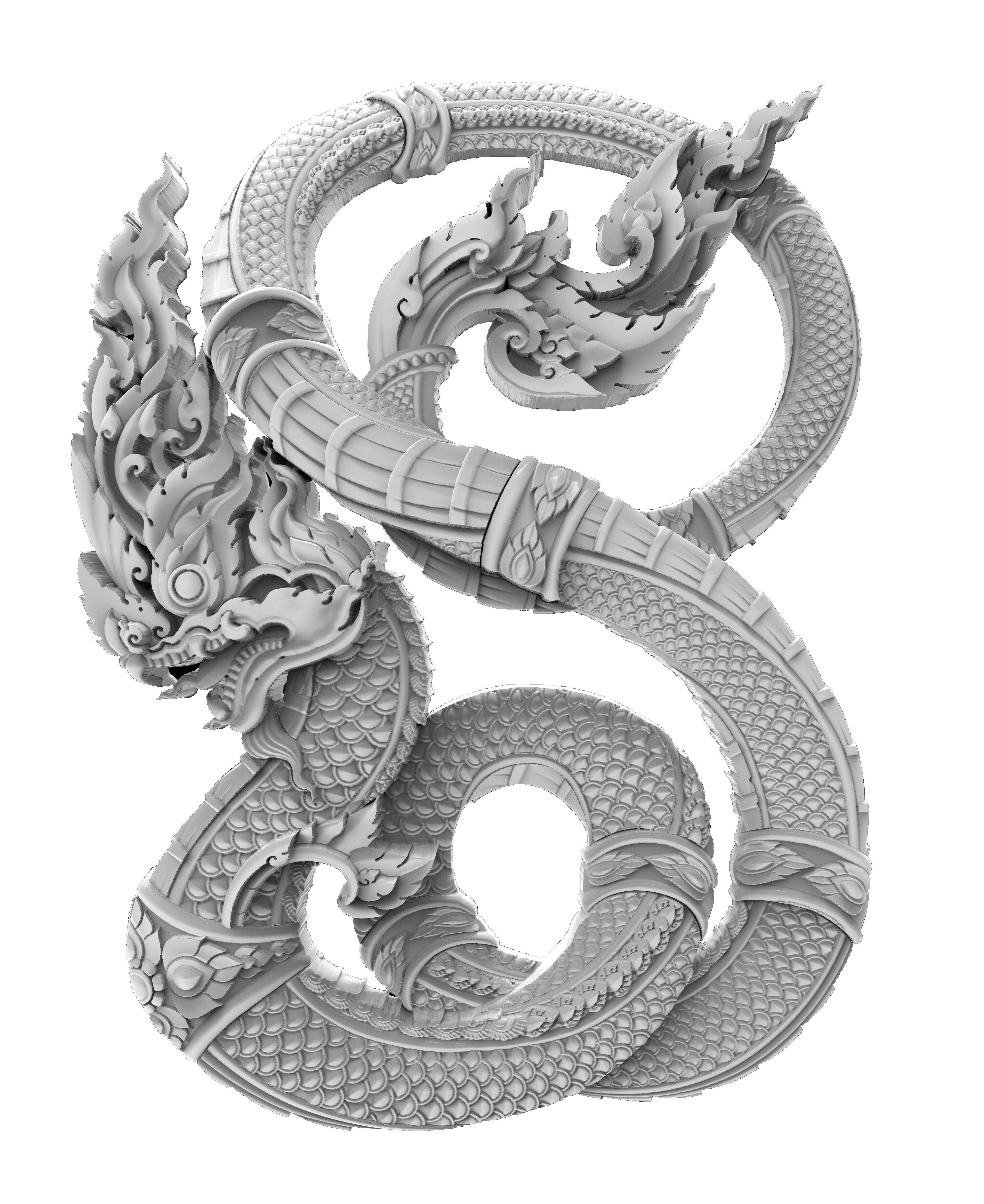 Thai tradition Naga 3D for print or CNC