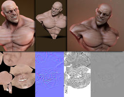 Expressive human male bust 3D Model