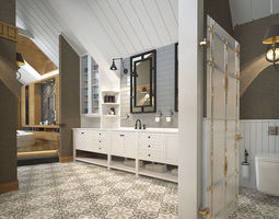 Luxurious Bathroom Resting and Sauna 3D Interior