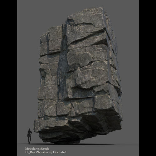 modular cliff 3d model low-poly obj mtl ztl 1
