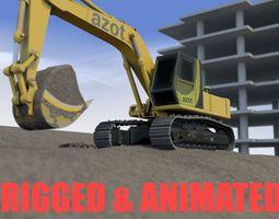 Excavator Scene 3D asset animated