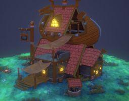 3D asset VR / AR ready Viking house