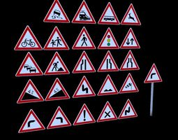low-poly 3D model German Warning Traffic Road Sign Pack