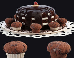 Chocolate Cake and Muffins 3D model