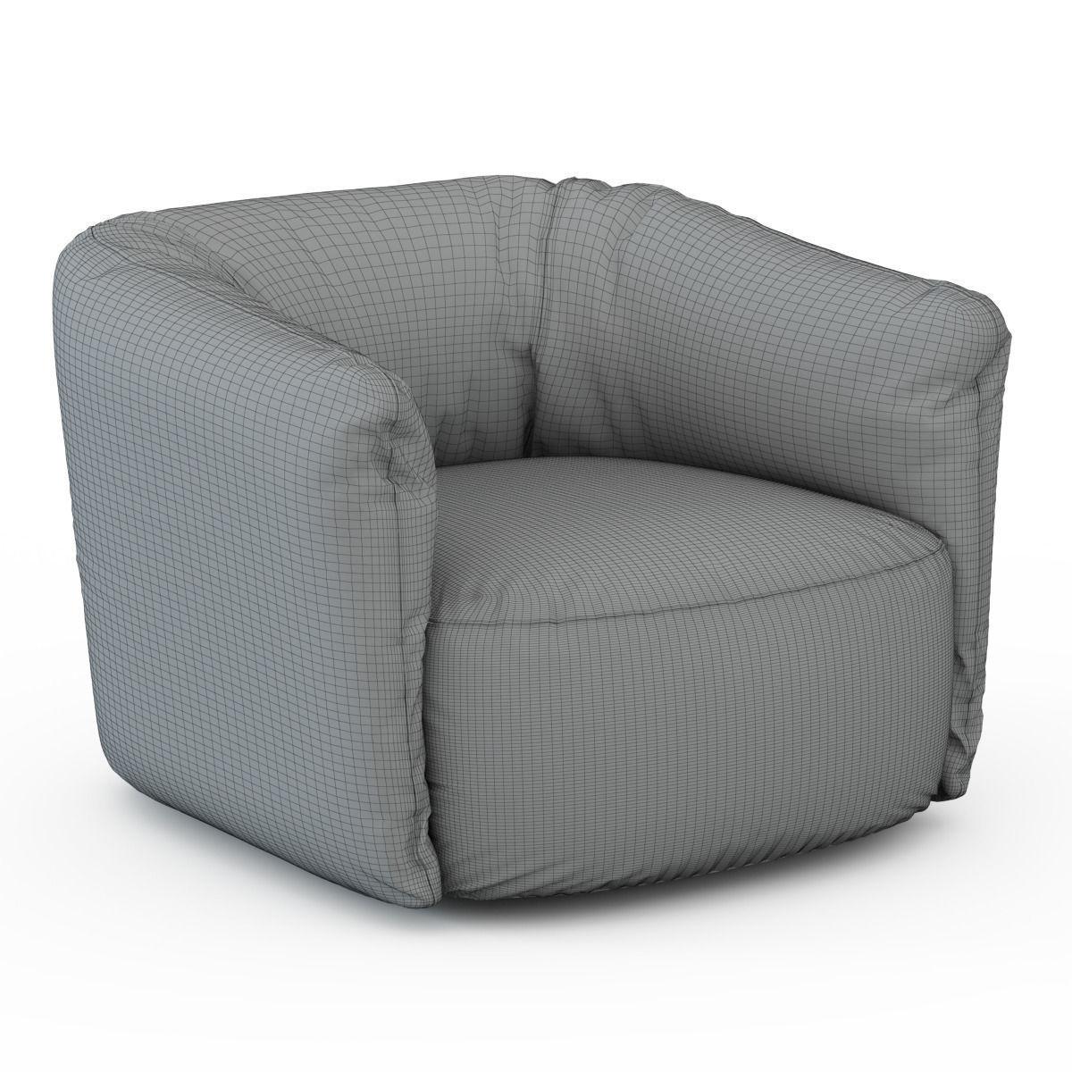 santa monica leather swivel armchair poliform 3d model max 3