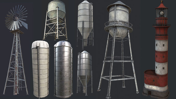 industrial structures pbr collection 3d model low-poly max obj 3ds fbx dae mtl 1