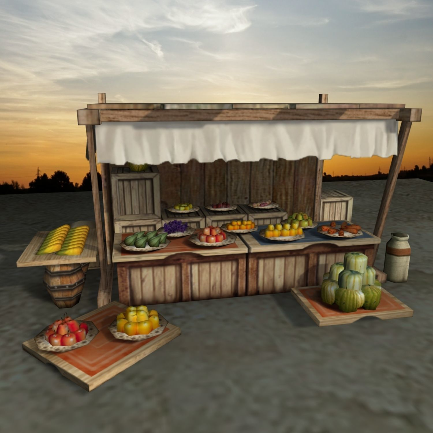 Medieval Fruit Shop | 3D model