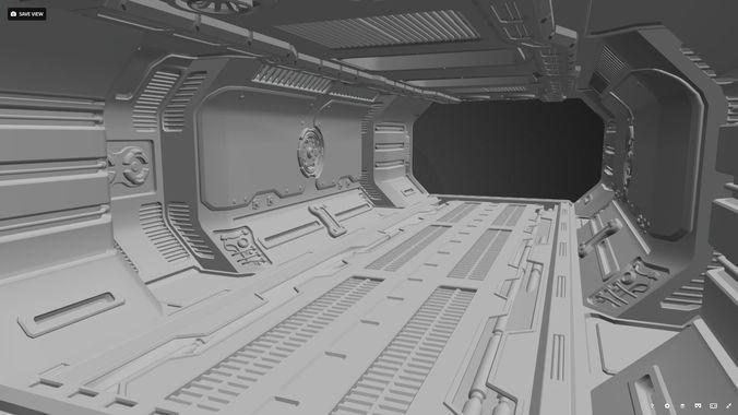 sci-fi corridor 3d model obj fbx 1