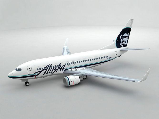 boeing 737-700 airliner - alaska airlines 3d model max obj 3ds dxf stl wrl wrz 1