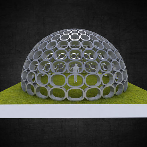 dome structure with round panels geodesic shape 3d model obj mtl 3ds fbx stl dae 3dm 1