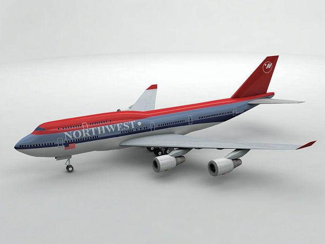 boeing 747-400 airliner - northwest airlines 3d model low-poly max obj mtl 3ds dxf stl wrl wrz 1