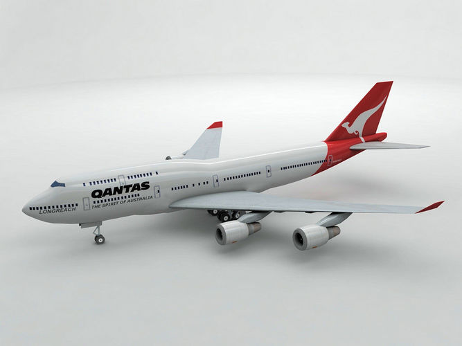 boeing 747-400 airliner - qantas airlines 3d model low-poly max obj 3ds dxf stl wrl wrz 1