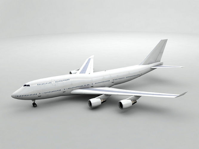 boeing 747-400 airliner - generic white 3d model low-poly max obj mtl 3ds dxf stl wrl wrz 1