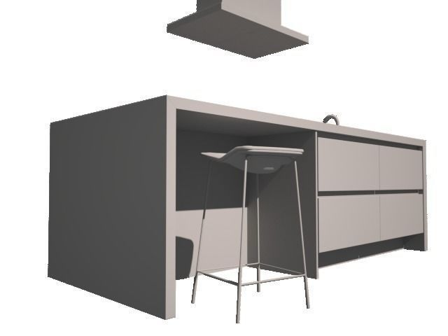 D modern kitchen with boretti and barstool cgtrader