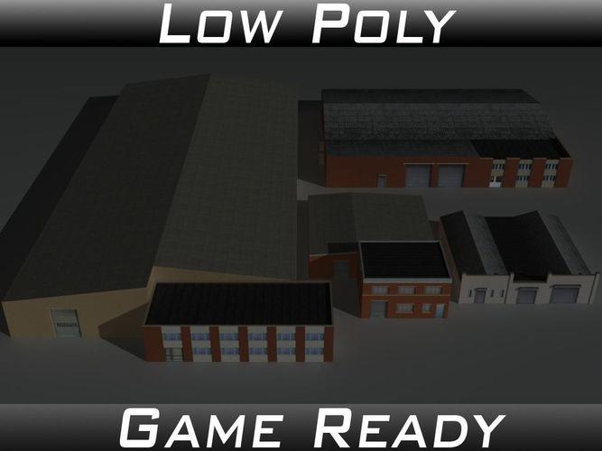 factory building set 6 3d model low-poly obj 3ds fbx mtl 1