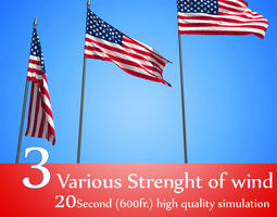 animated 3D FLAG ANIMATED 3 LEVEL oF WIND